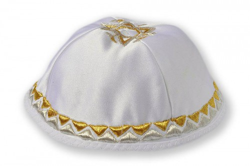 Embroidered satin Kippot 203