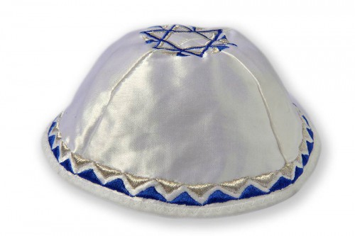 Embroidered satin Kippot 206