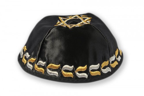 Embroidered satin Kippot 208