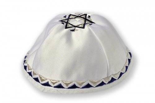 Embroidered satin Kippot 215