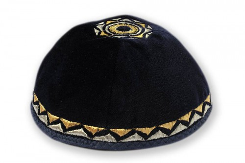 Embroidered Velvet Kippot 216