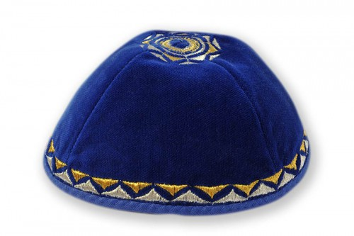Embroidered Velvet Kippot 218