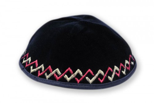 Embroidered Velvet Kippot 233